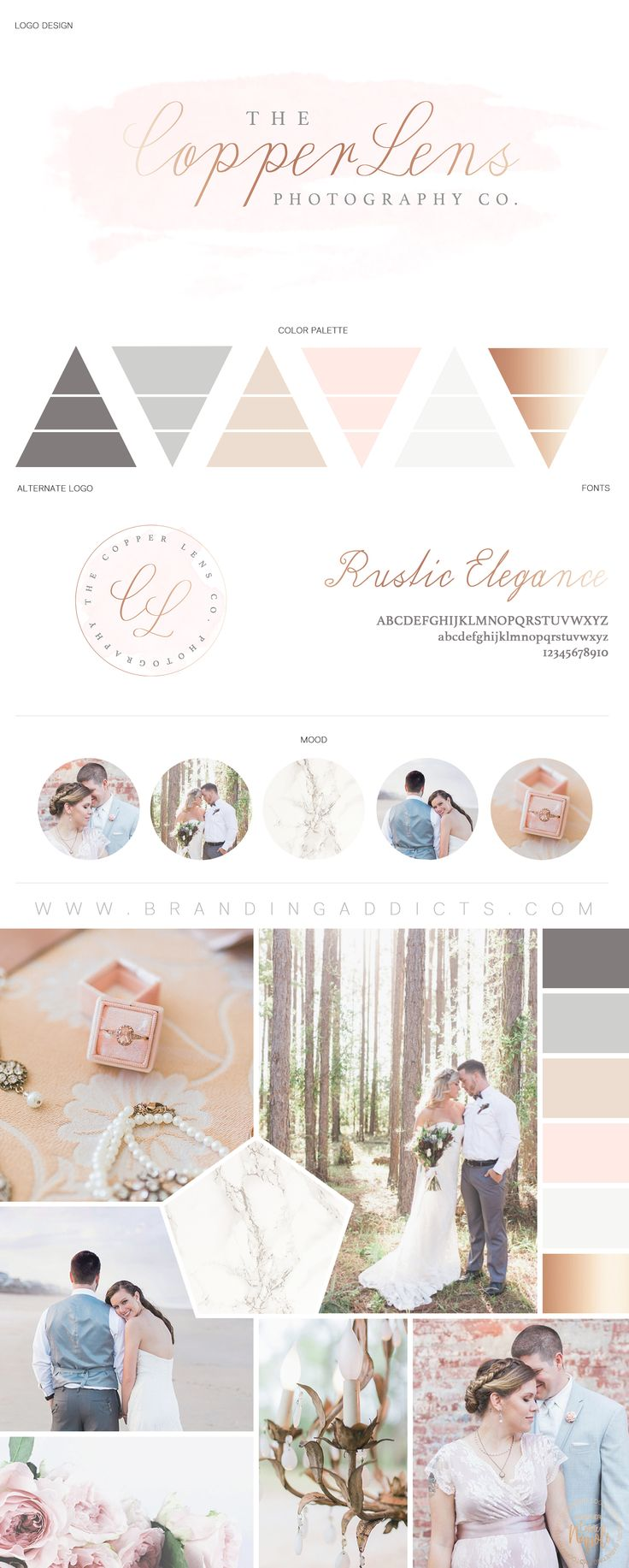 Soft, bright, and airy branding. Copper Lens Photography Co. Marble. Modern. Wedding. Bridal. Professional Business Branding by Designer Laine Napoli. Web Design, Logo, Mood Board, Brand Boards, and more.