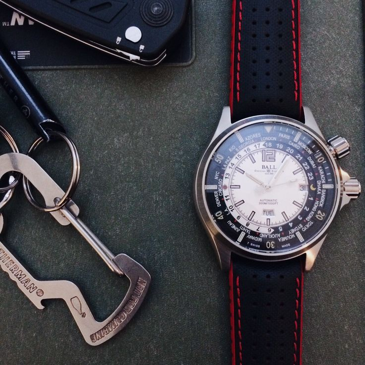 Another customer photo of a Hirsch strap on their watch. We always love seeing what our straps look like on your watches! This Hirsch Robby in red looks fantastic on the beautiful Ball watch