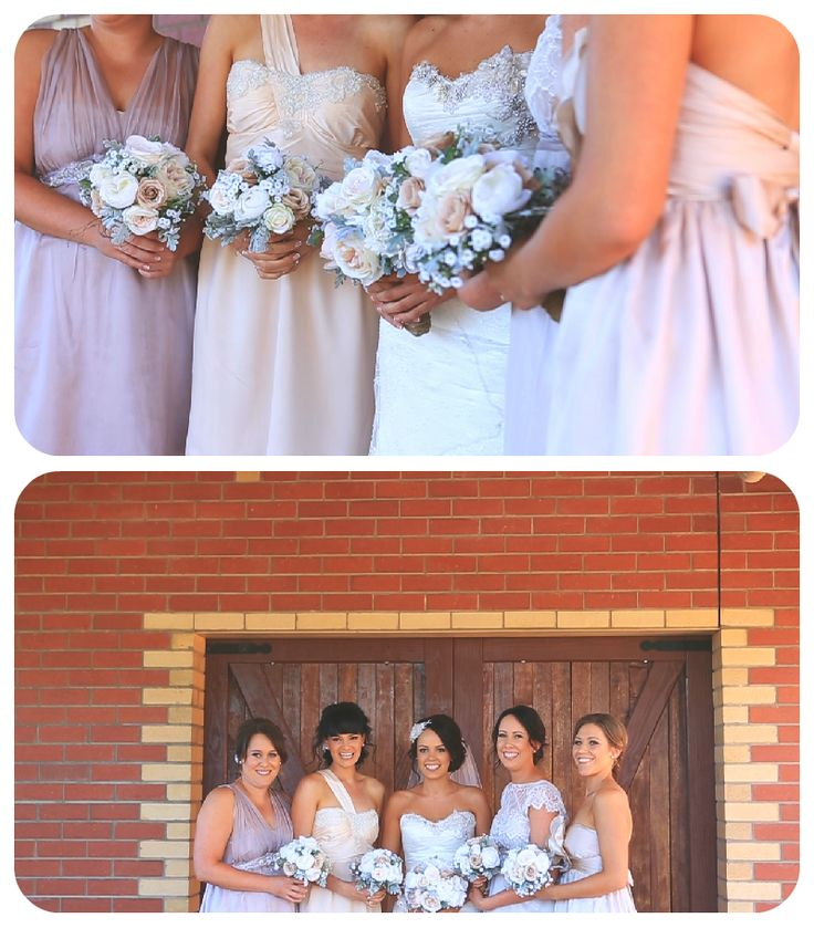 Great colour scheme for bridesmaid dresses from Sharelle & Kyle's wedding. This is the part where we high five Sharelle & Kyle and say 'You're doing it right!' A great look having differently styled but similarly coloured dresses, pastel colouring all the way. Check out Sharelle & Kyle's video here > https://vimeo.com/89993956