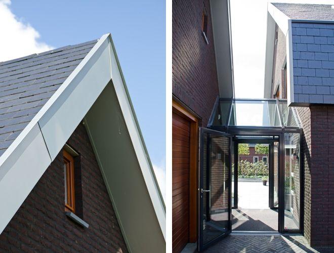 glazen verbinding en entree zink overstek leien dak
