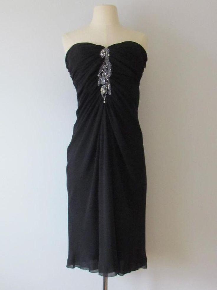 NEW $2.4K Emanuel Ungaro Embellished Black Silk Strapless Dress Sz 42 NWT #EmanuelUngaro