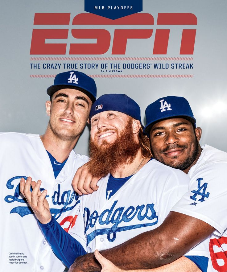 Cody Bellinger, Justin Turner and Yasiel Puig are featured on the cover of this coming months issue of ESPN The Magazine MLB - Playoffs Issue.