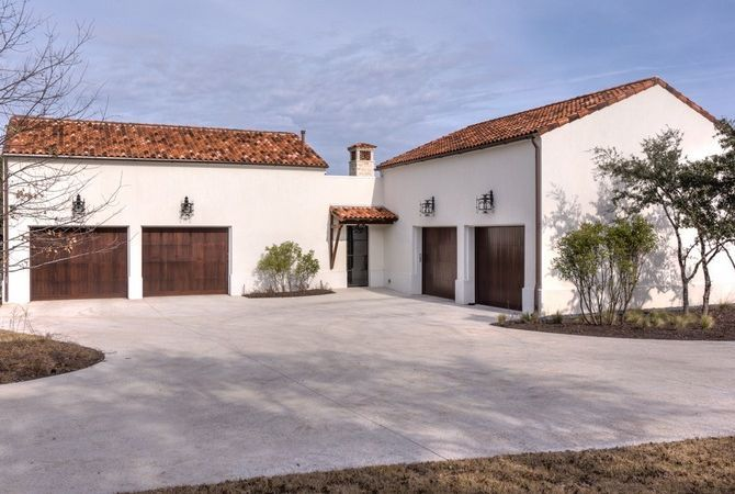 Salted concrete driveway custom wood garage doors for Concrete homes texas