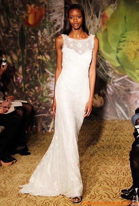 Robe de mariée fourreau dentelle col bateau