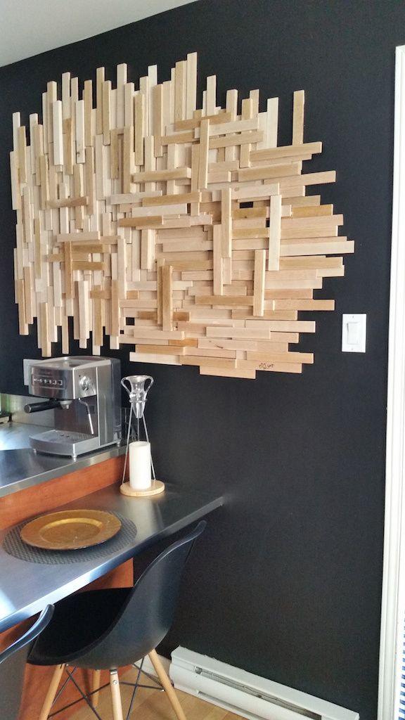 DIY: déco murale bois en languette de bois d'allumage à moins de 20$