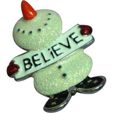 Vintage Glittered Enamel Snowman Pin Brooch.  https://www.pinterest.com/clarasjewelry/christmas-on-ruby-lane/