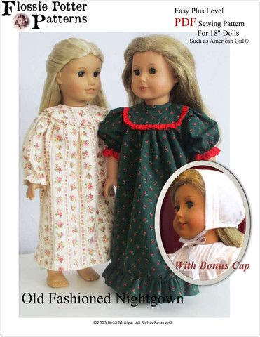 Flossie Potter Old Fashioned Nightgown Doll Clothes Pattern 18 inch American Girl Dolls | Pixie Faire