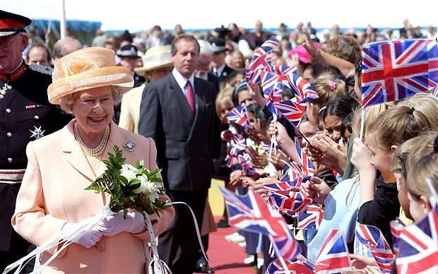 The Queen in Leeds as part of her Golden Jubilee tour in 2002