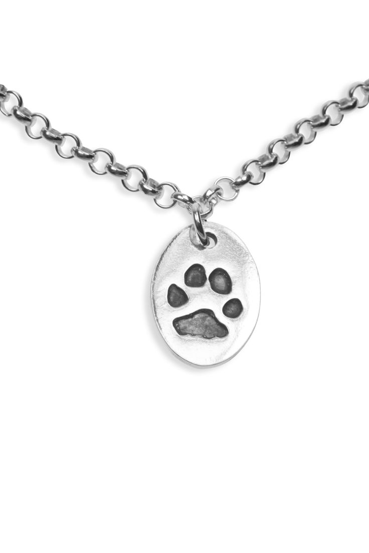 Paw print pendant on mini belcher   www.silverpetprints.com