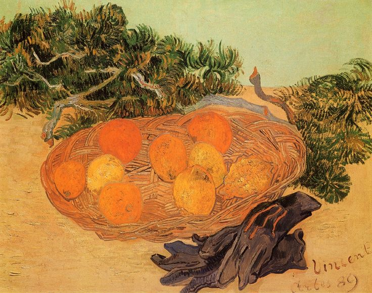 Still Life with Oranges and Lemons with Blue Gloves (Vincent van Gogh - )