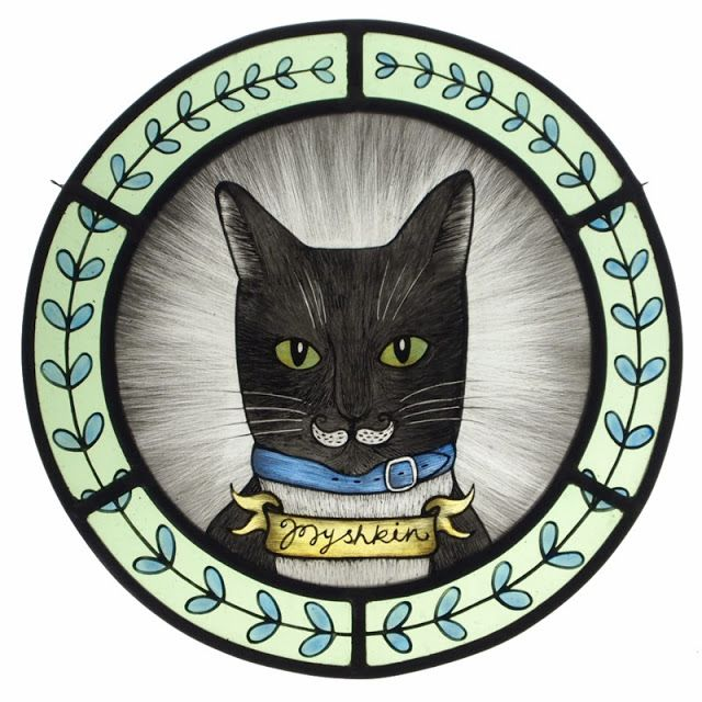 Custom cat portrait in a stained glass roundel - hand painted and kiln fired.    By Flora Jamieson/ThroughTheRoundWindow