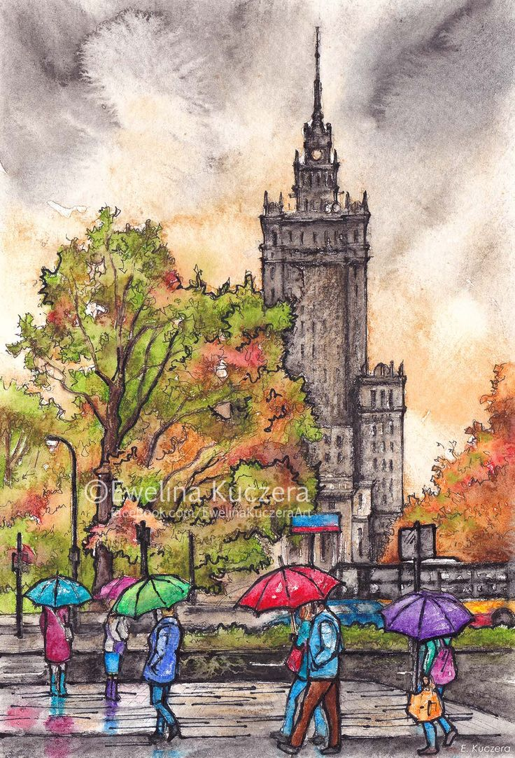 Rainy Warsaw Ink & watercolor pencils illustration