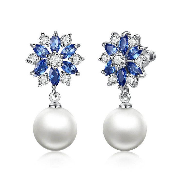 Orecchini con cristalli blu con pendente a goccia con perla Platino placcato Per donne di classe ragazze, gioielli per feste e anniversari di OceanBijoux su Etsy