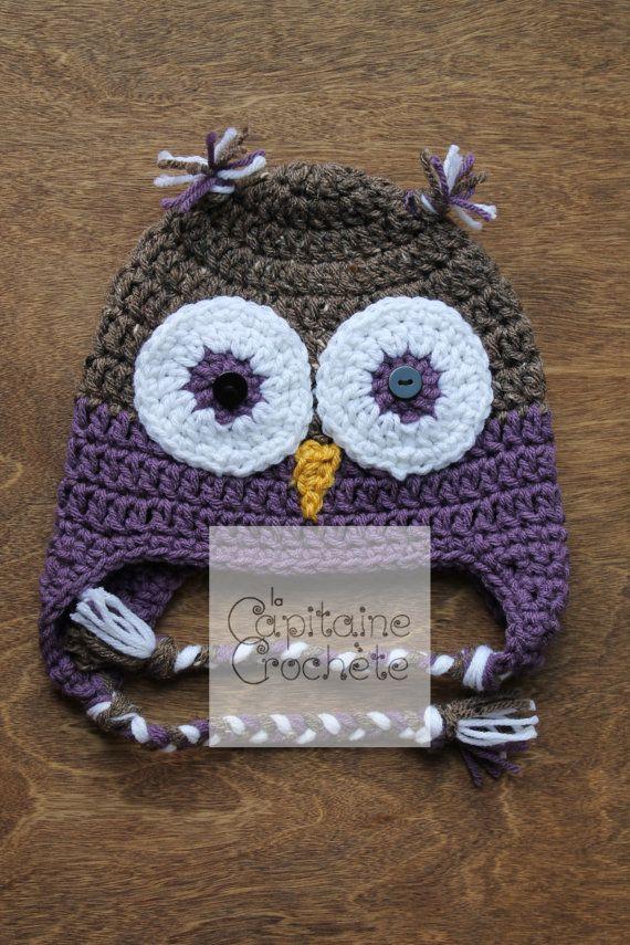 SALE 9-24 months hat Owl purple violet by LaCapitaineCrochete