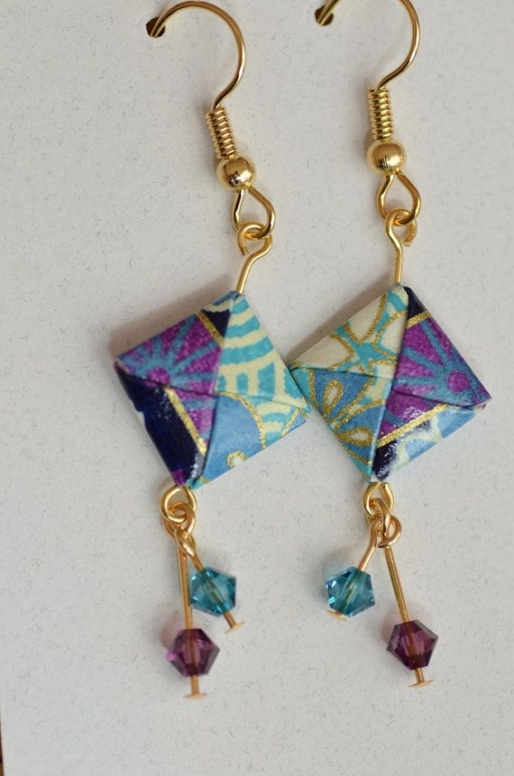 Origami Dangle Earrings purple and teal washi by EastWindDesigns