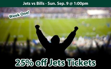 25% off New York Jets Tickets vs Buffalo Bills Sun. Sep. 9 @ 1:00pm