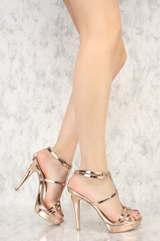 05091f285667 Rose Gold Metallic Strappy T-Strap Open Toe Platform Pump High Heels Faux  Leather