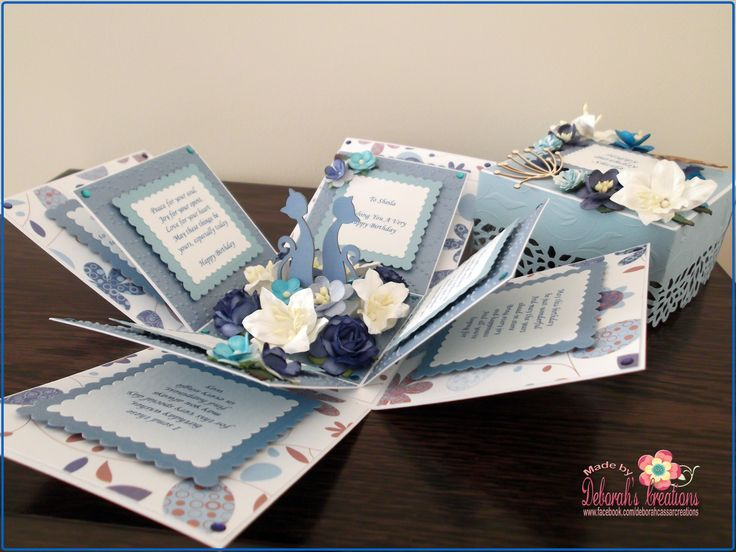 Blue & Cats with Flowers Exploding Box Card