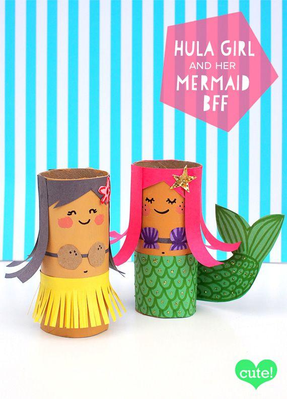 Personajes con rollos de papel higiénicos   Toilet Paper Mermaid & Hawaiian Girl