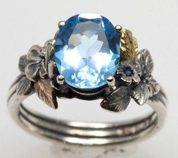 Blue Topaz Engagement Ring by FernandoJewelry on Etsy