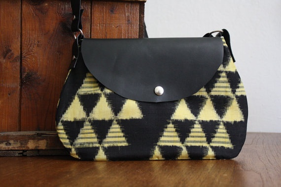 Aztec Triangles Messenger Bag.  Made from Vintage Silk Kimono & Leather. Limited Edition & Handmade.