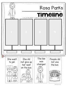 Rosa Parks {Timeline} for Kindergarten and First Grade Social Studies. Black History Month or Martin Luther King, Jr. Studies. $