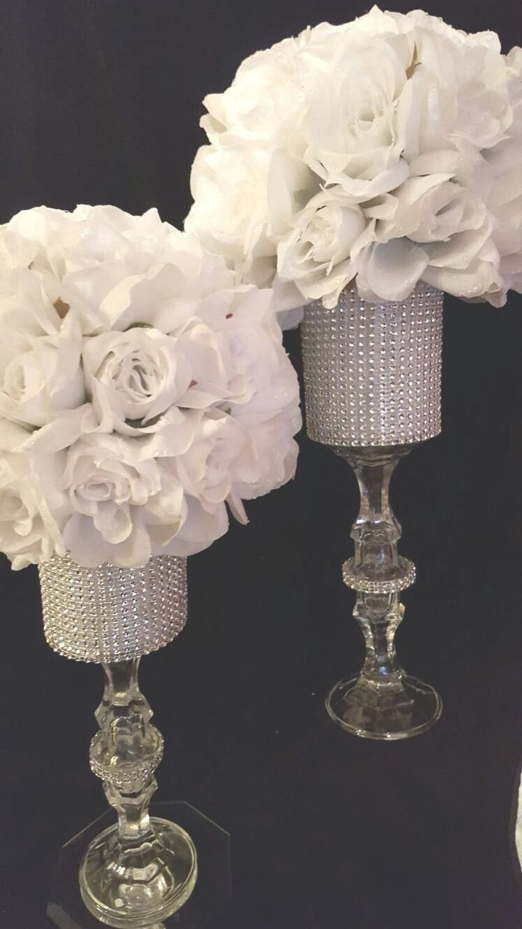 1029 best centerpieces bring on the bling crystals diamonds crystal rose centerpiece weddings event decor junglespirit Images