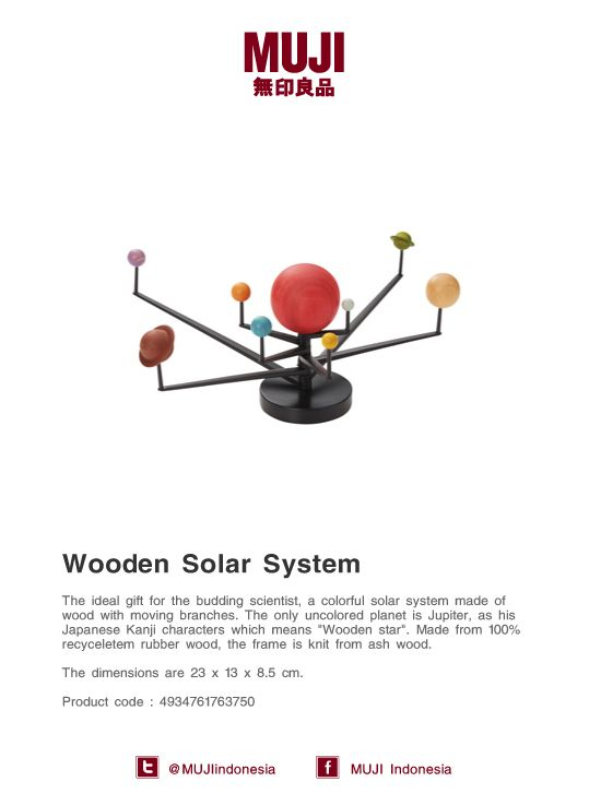 The ideal gift for the budding scientist, colorful wooden solar system with moving branches!