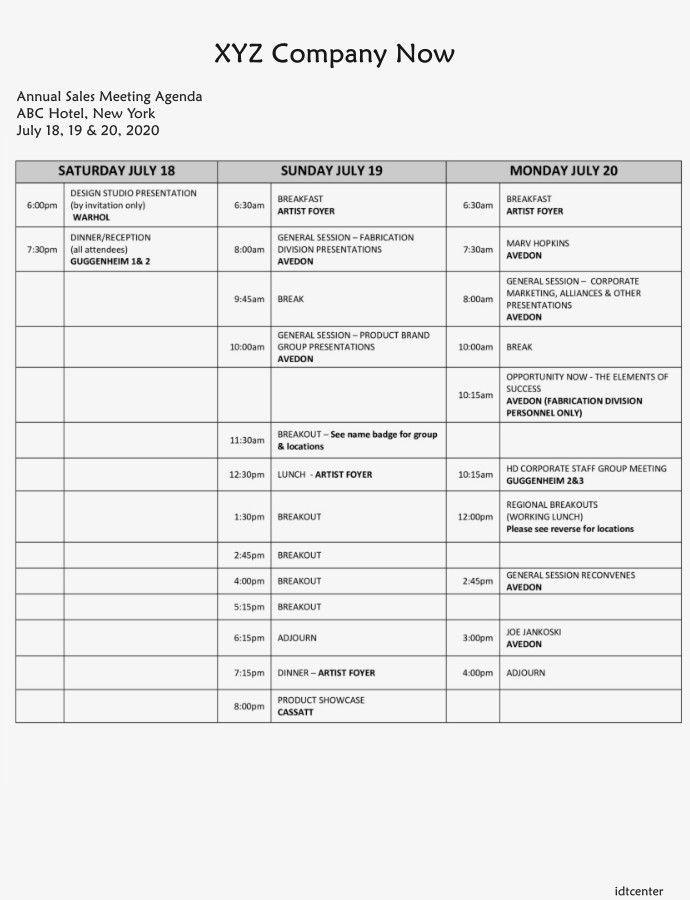 Sample Sales Meeting Agenda Template In 2020 Meeting Agenda Template