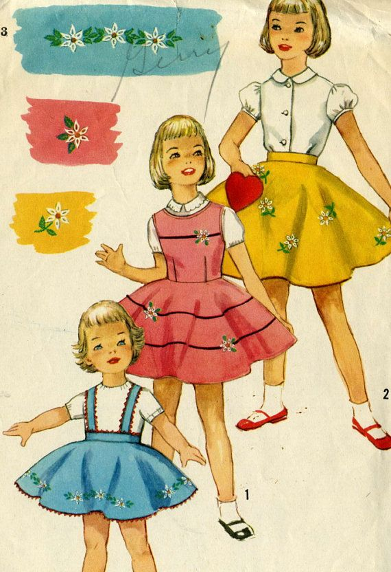 Vintage Simplicity 1823 Toddler Girls Circle Twirl Skirt And Jumper With Embroidery Transfer Sewing Pattern Size 3