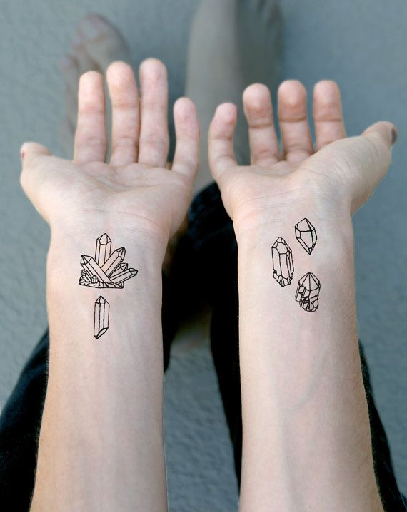 Little Crystals Temporary Tattoo Pack - Crystal Point Druzy Cluster Geometric Shapes Fake Tattoo