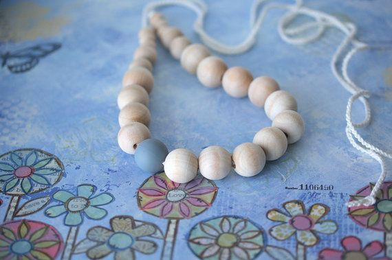 Wooden silicone nursing necklace  Gray Teething by ForeverValues, $14.00