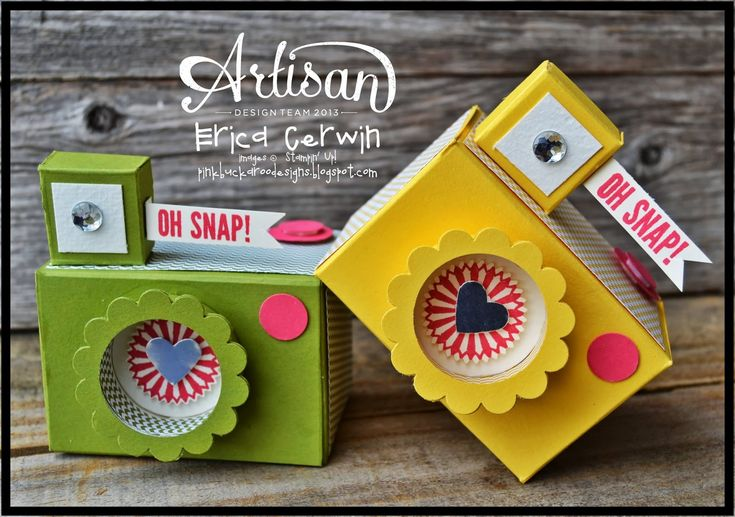 Oh Snap! Camera Treat Box. Tutorial available, Features the Hip Notes and Starburst Saying Stamp sets
