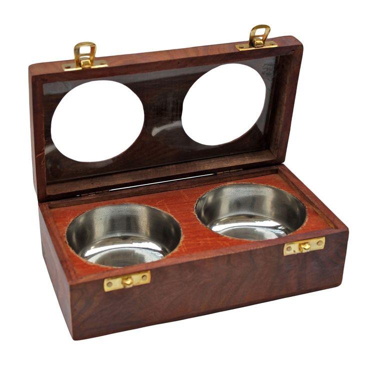 Mayur wooden dry fruit box 2 bowls