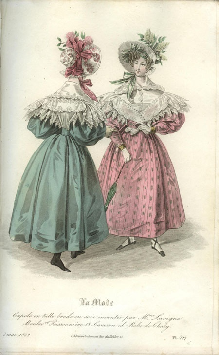 1832 fashion plate, pretty pink, lacey pelerines