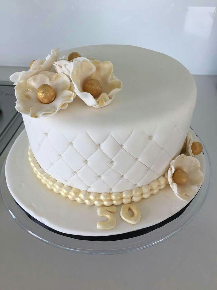50th Wedding  Anniversary Gold and white Cake #1