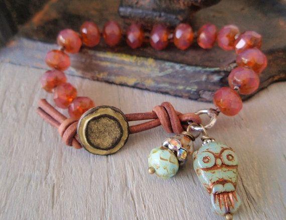 Owl boho bracelet - Hoot  - plum pink opal , mint green slashKnots slipKnots  Sterling silver charm leather, rustic cottage chic nature