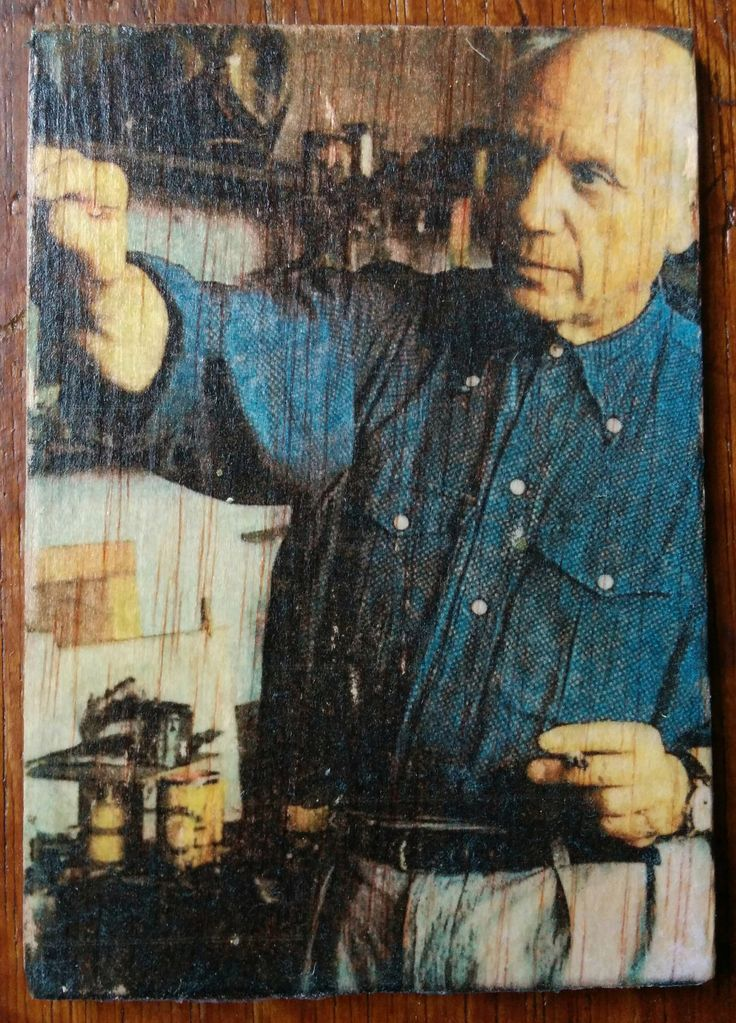 Pablo Picasso - Photo transfer on wood. Handmade.