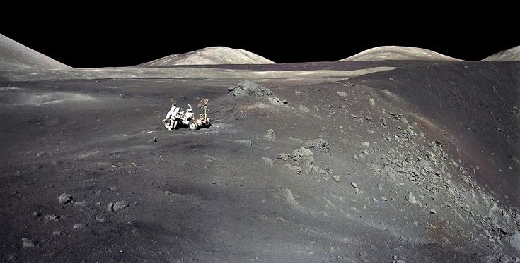 December, 1972: Apollo 17 Harrison Schmitt works beside the Lunar Rover on the rim of Shorty Crater, in a photo shot by his crewmate Eugene Cernan. The crater was a landmark of their landing area in the Taurus-Littrow Valley on the Moon, the last place visited by humans since the end of the Apollo program. NASA photo.