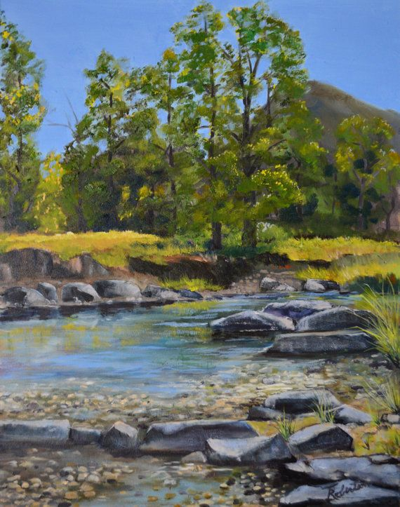 Original oil painting framed plein air river painting