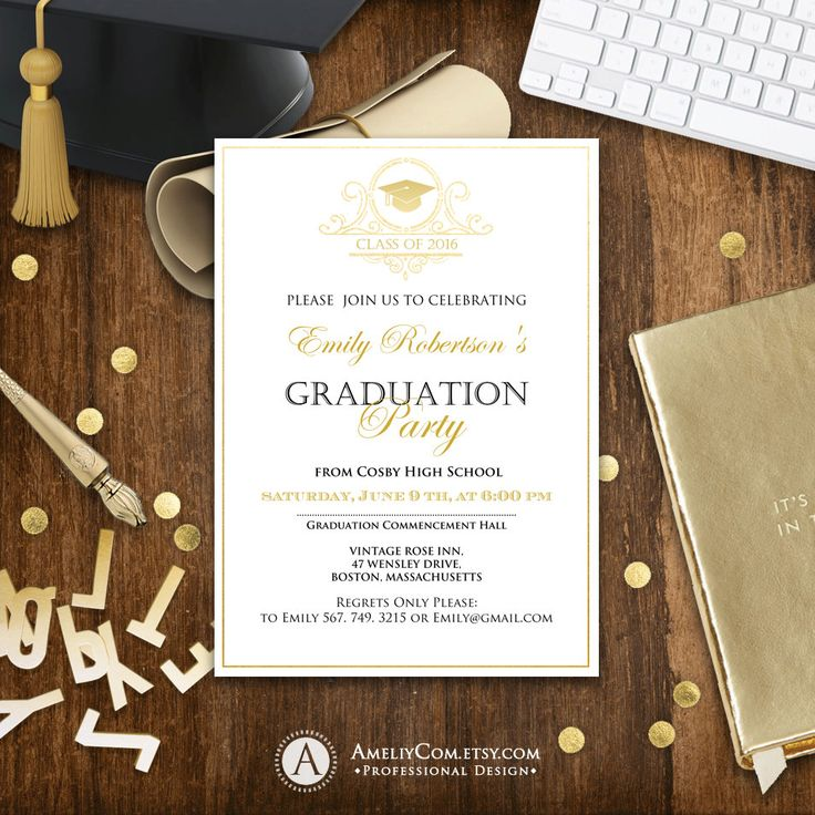 Graduation announcement printable Gold college graduation announcement template, high school graduation announcement party instant download