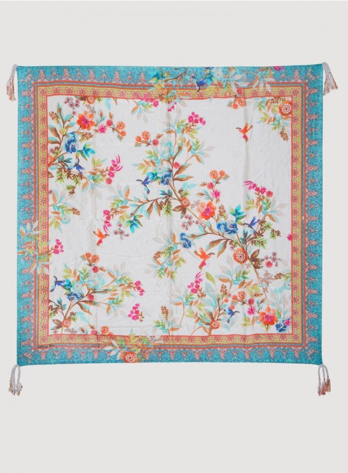 Hummingbird Scarf The Johnny Was Signature Silk HUMMINGBIRD SCARF features a chic watercolor scattered botanical print on a cream ground, accented by a detailed decorative border pattern in orange and blue. Try this printed silk scarf draped, knotted, or wrapped to add a luxurious finishing touch to any outfit!  - Silk - Signature Silk