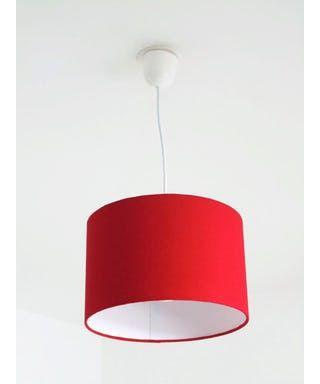 Lustre suspension plafonnier rouge - abat jour cylindrique - rond 28cm cylindre + fil électrique