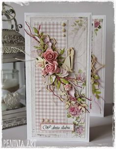 handmade vintage shabby chic green acordian card - Google Search