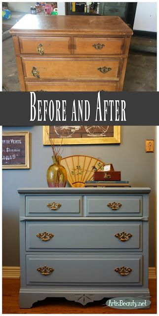 Regency colored Dresser Before and After Painted makeover eclectic boho chic decor DIY