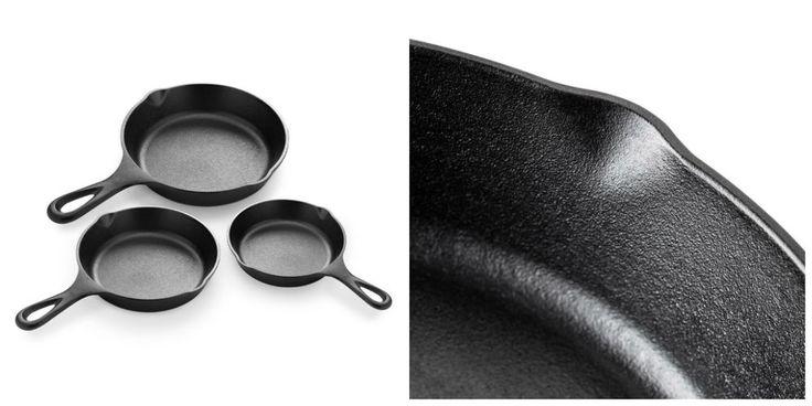Cast Iron Skillet Set 3 Pcs Frying Saute Pans Cookware Pre Seasoned 10 8 6 Inch  #CookwareSets