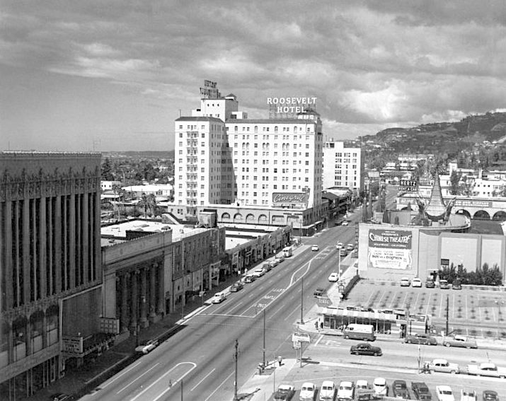 An Empty Hollywood Boulevard In 1957 With The Famous Roosevelt Hotel Background