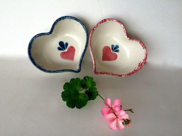 Sponge-ware Bowls Heart Shaped Bowls Heart Theme Valentine's Gift Set of Two 2 Blue & Pink Trim Heart Bowls Pair Trinket Dishes Sponge Trim by TizaVintage on Etsy https://www.etsy.com/listing/264982197/sponge-ware-bowls-heart-shaped-bowls
