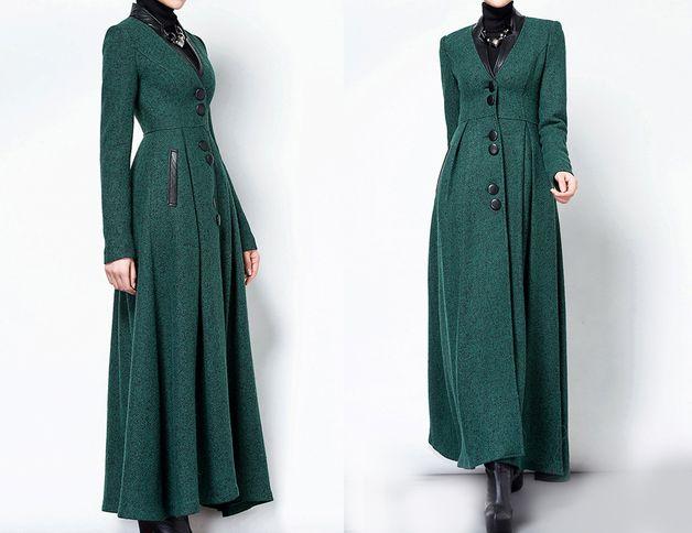 Giacche invernali - Verde Scuro Cashmere Capispalla Finitura - un prodotto unico di ChineseHut su DaWanda