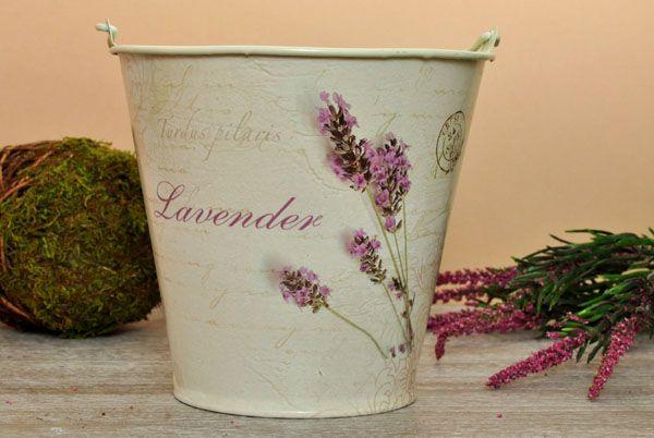 Dekoracyjne Wiaderko Motyw Lawendy Prowansja / Large bucket decorated with a lavender theme